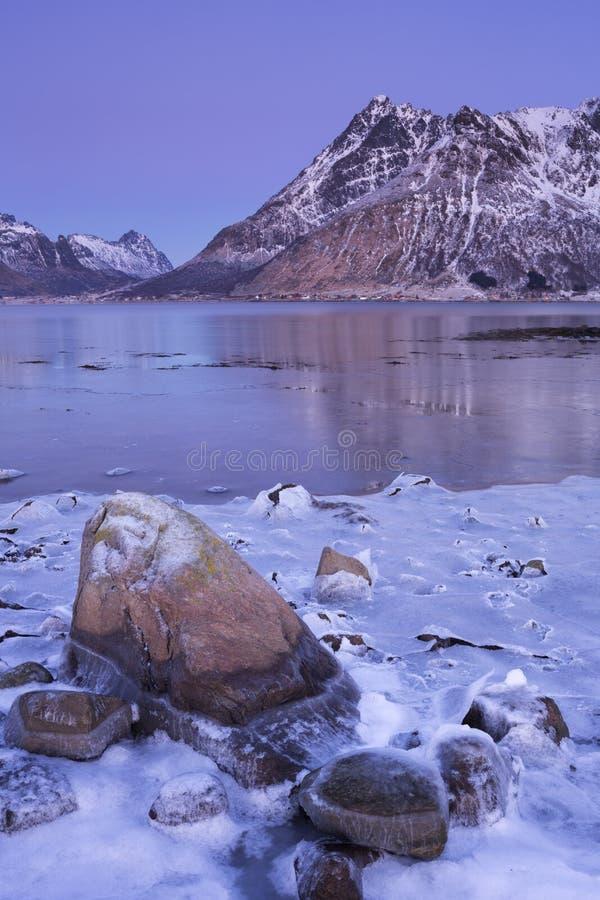 Горы над фьордом в зиме на Lofoten, Норвегии стоковые изображения rf