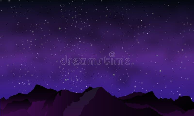 Горы ночи в фиолетовых тонах иллюстрация штока