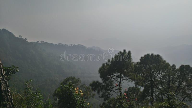 Горы покрытые с туманом стоковая фотография