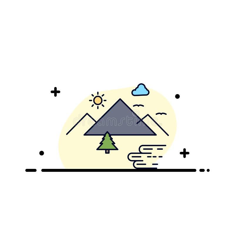 Горы, природа, на открытом воздухе, облака, вектор значка цвета Солнца плоский бесплатная иллюстрация