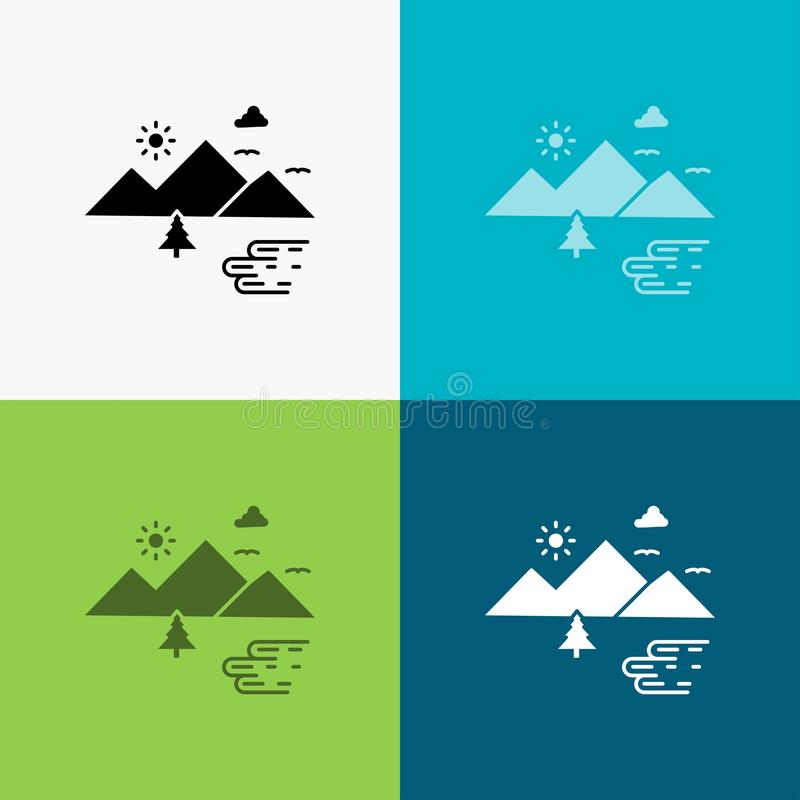 Горы, природа, на открытом воздухе, облака, значок Солнца над различной предпосылкой r r иллюстрация штока