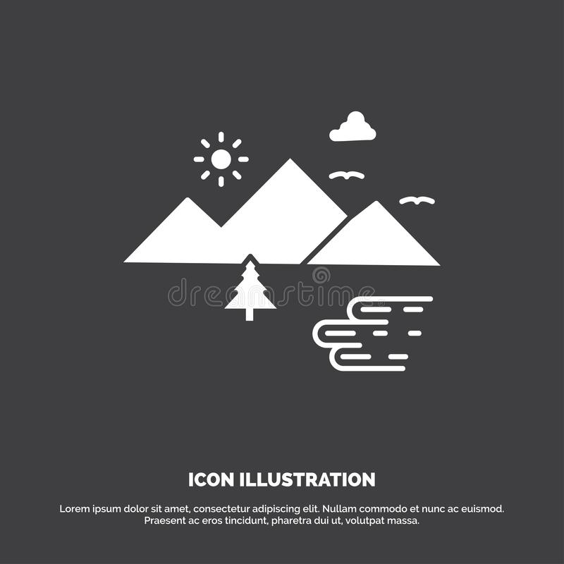 Горы, природа, на открытом воздухе, облака, значок Солнца r иллюстрация вектора