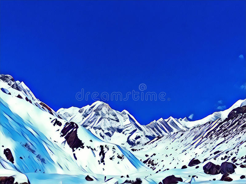 Горы снега под голубым небом Иллюстрация цифров гор Гималаев морозит взгляд пиков панорамный иллюстрация штока
