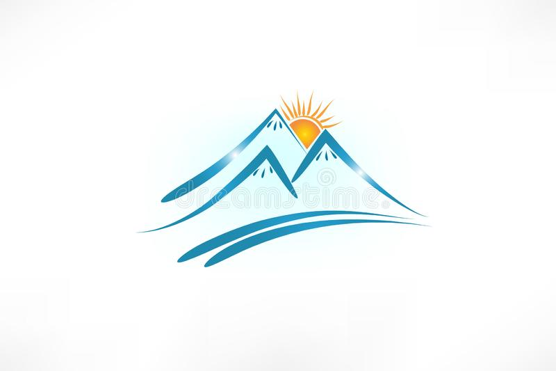 Горы солнце и вектор логотипа дороги иллюстрация вектора