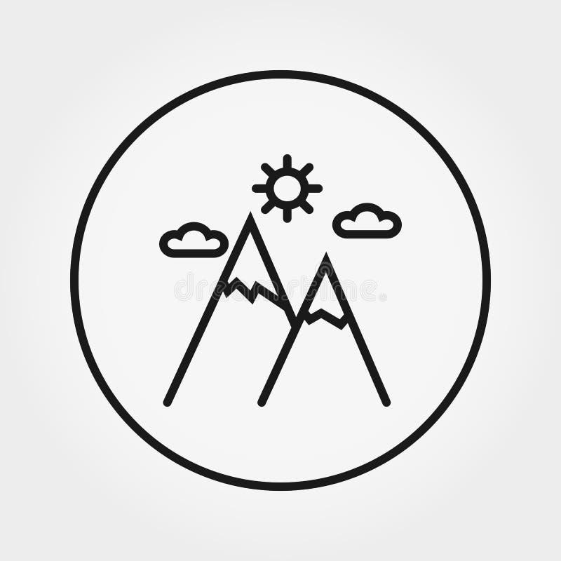Горы, солнце, облака икона вектор Editable тонкая линия иллюстрация вектора