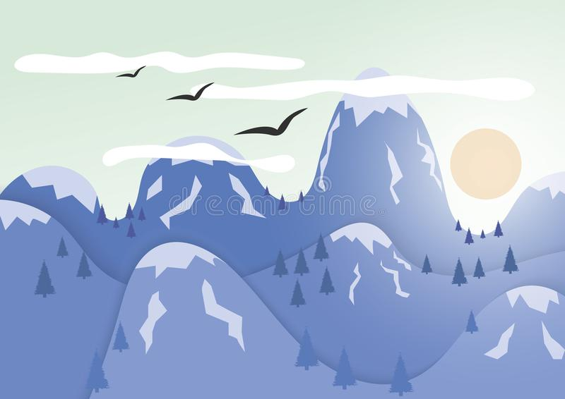 Горы с ледяной шапкой Тайники солнца за горами бесплатная иллюстрация