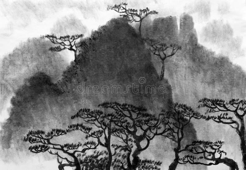 Горы тумана и сосен иллюстрация штока