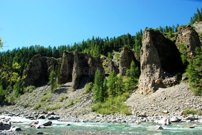 Горы, shumack, Lake Baikal, река, вода, отключение, спрус, лес, гора, Россия стоковая фотография