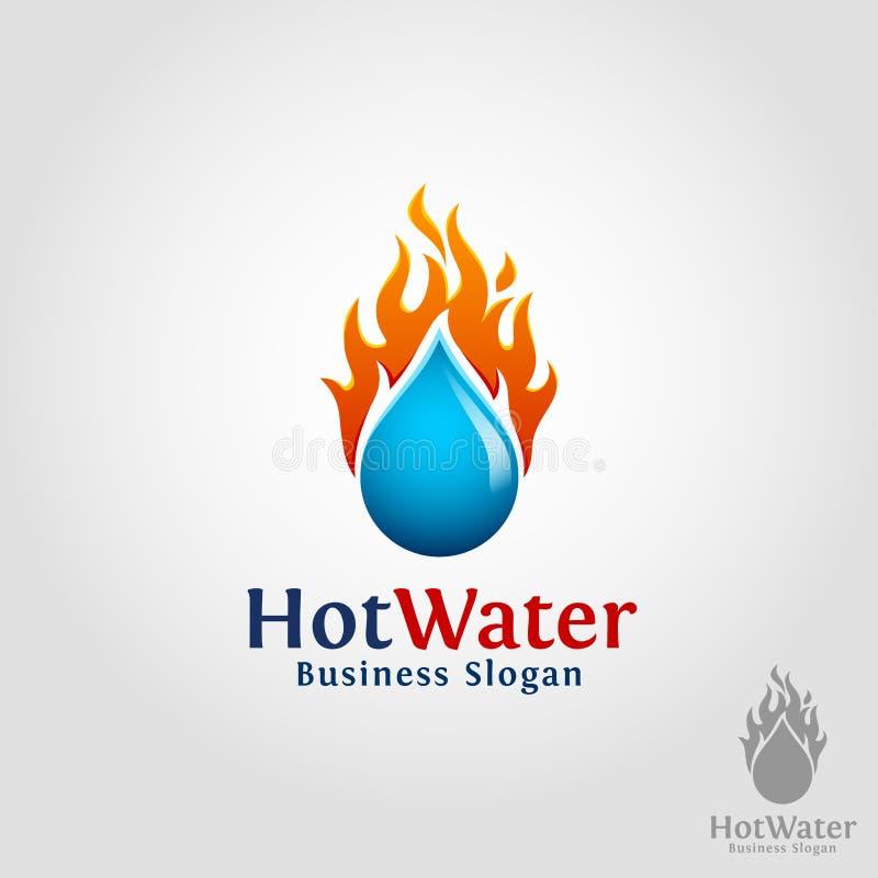 Горячая вода - горя логотип падения воды иллюстрация вектора