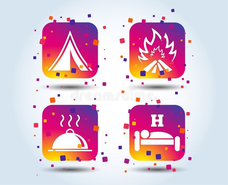 Горячая еда, сон, располагаясь лагерем шатер и знаки огня бесплатная иллюстрация