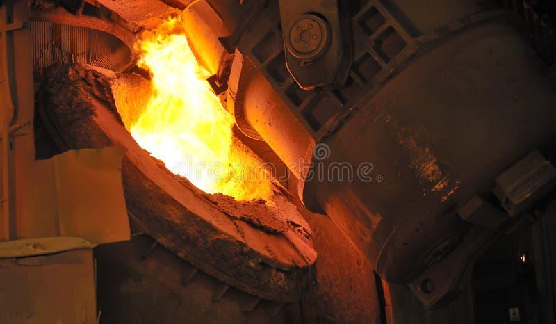 Горячая жидкая сталь стоковое изображение rf