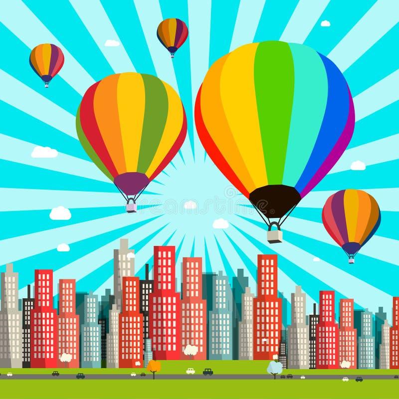 Горячая иллюстрация дизайна вектора воздушных шаров плоская иллюстрация вектора