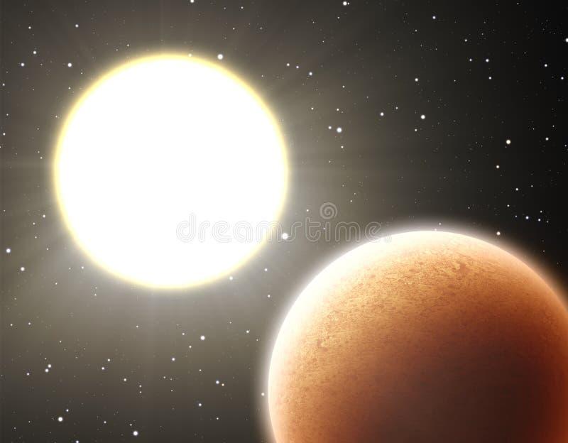 Горячая планета около звезды иллюстрация штока
