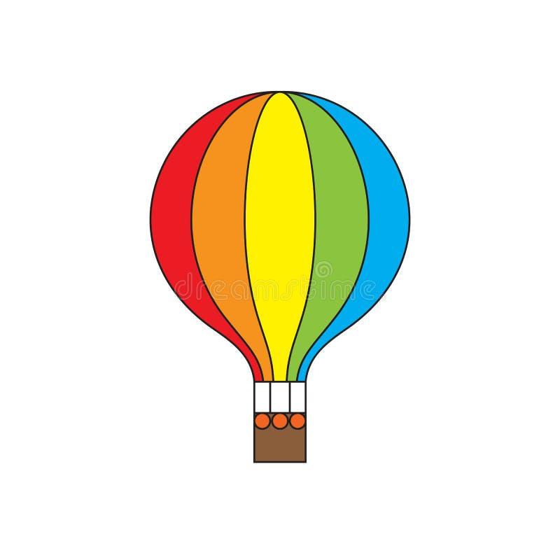 Горячая радуга воздушного шара красит значок иллюстрация штока