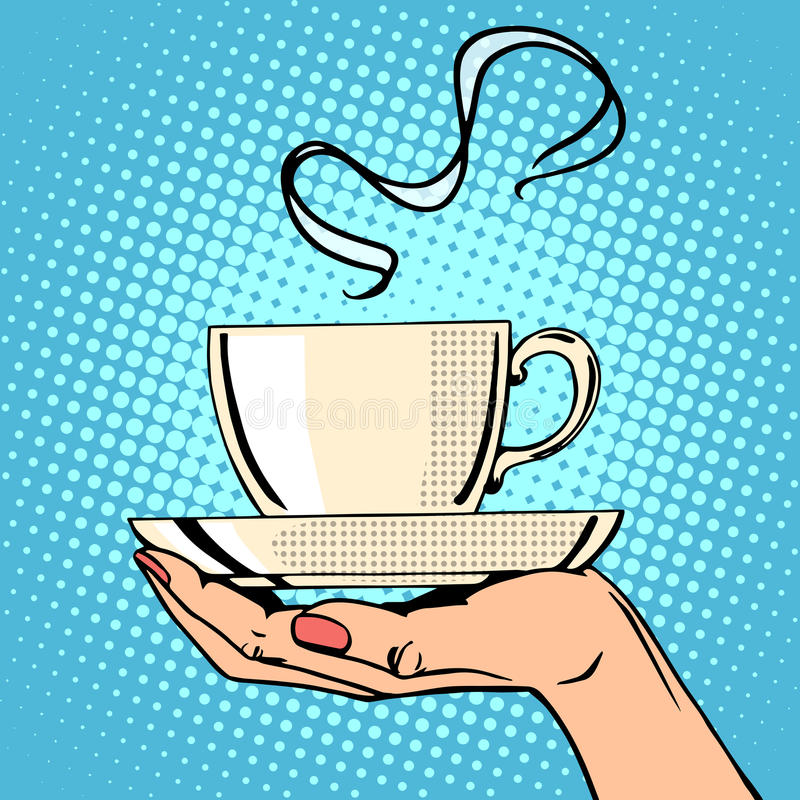 Горячая рука женщины кофейной чашки иллюстрация штока