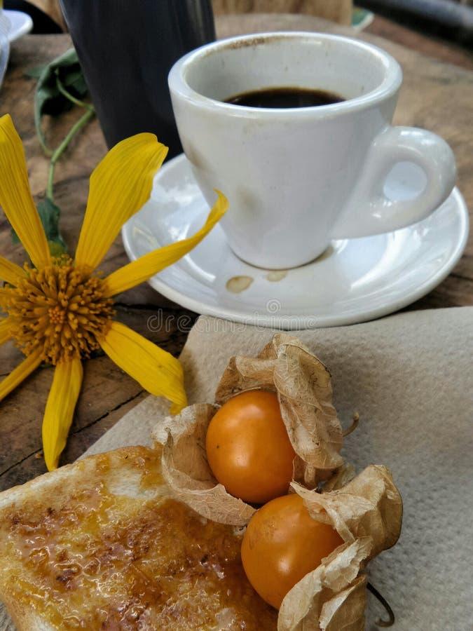 Горячее капучино в белой чашке с зацветая солнцецветом Maxican стоковые изображения rf