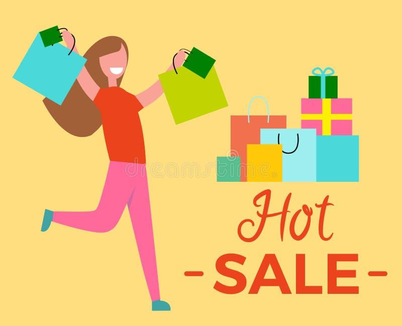 Горячее повышение женщины продажи вручает иллюстрацию вектора иллюстрация вектора