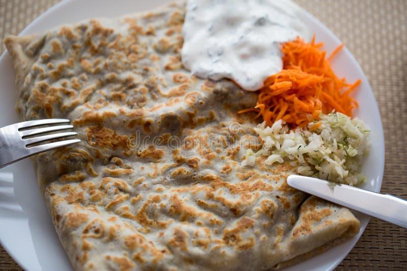 Горячие блинчики завтрака стоковая фотография rf