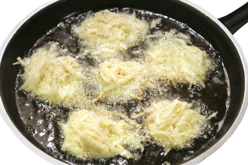 Горячие блинчики картошки зажарили в масле