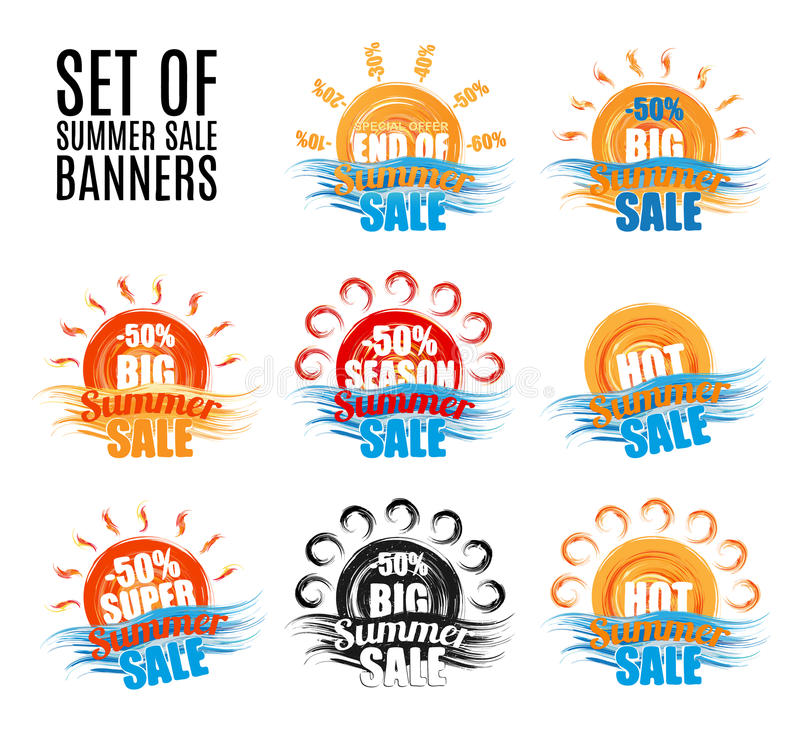 Горячие большие установленные стикеры или знамена продажи лета сезона иллюстрация вектора
