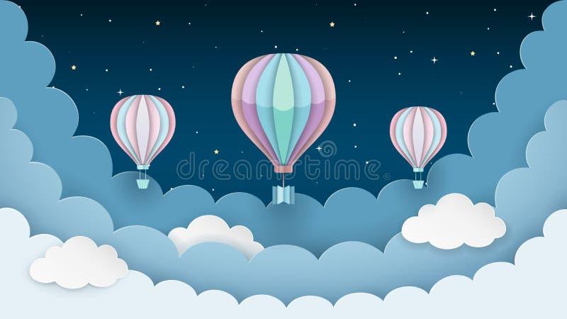 Горячие воздушные шары, звезды и облака на темной предпосылке ночного неба Предпосылка сцены ночи Стиль бумажного ремесла вектор иллюстрация вектора