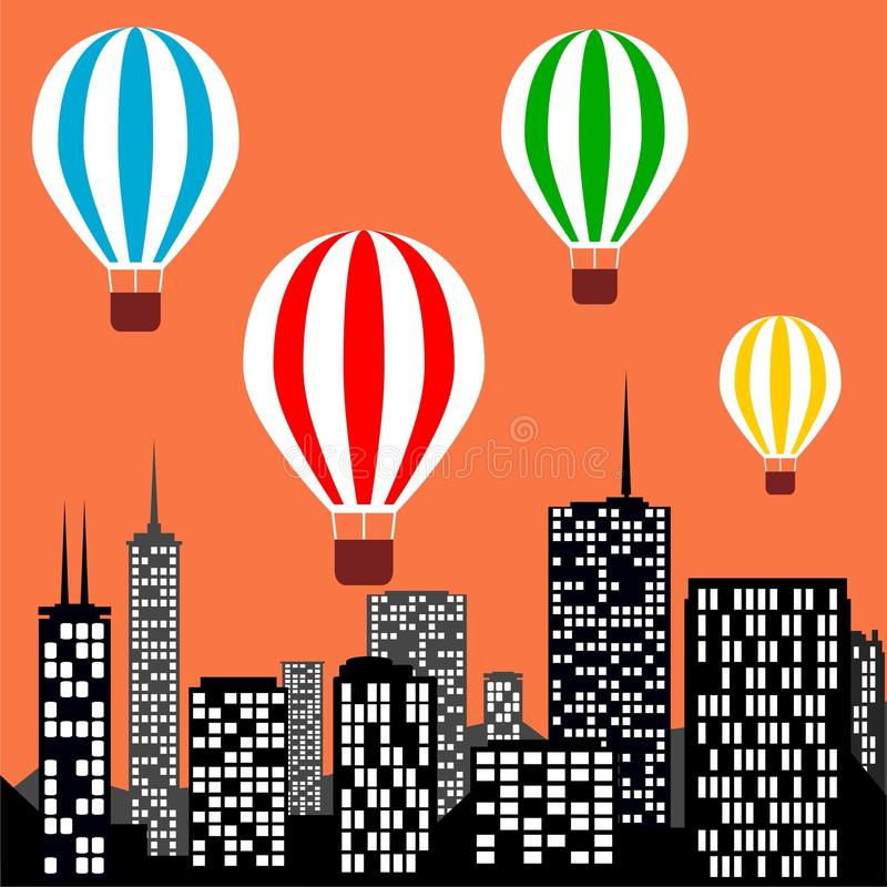Горячие воздушные шары летая над городом иллюстрация вектора