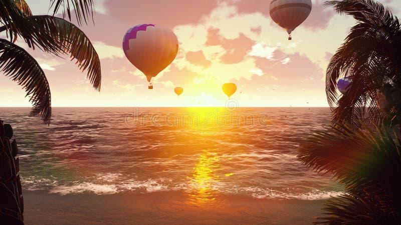 Горячие воздушные шары над голубым морем на заходе солнца вектор лета иллюстрации предпосылки красивейший перевод 3d иллюстрация штока
