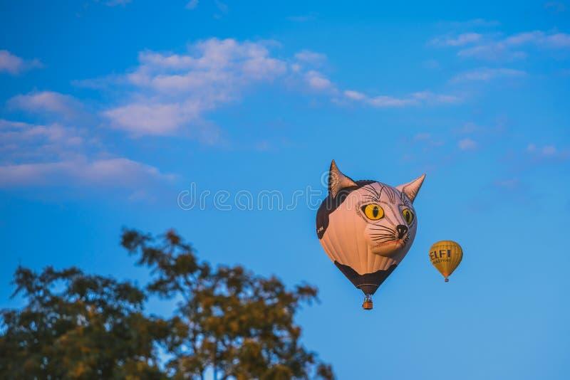 Горячие воздушные шары летая над городом Birstonas стоковые фото