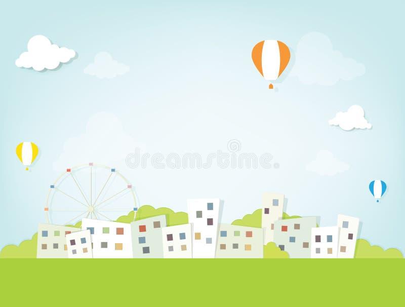 Горячие воздушные шары над городом иллюстрация штока