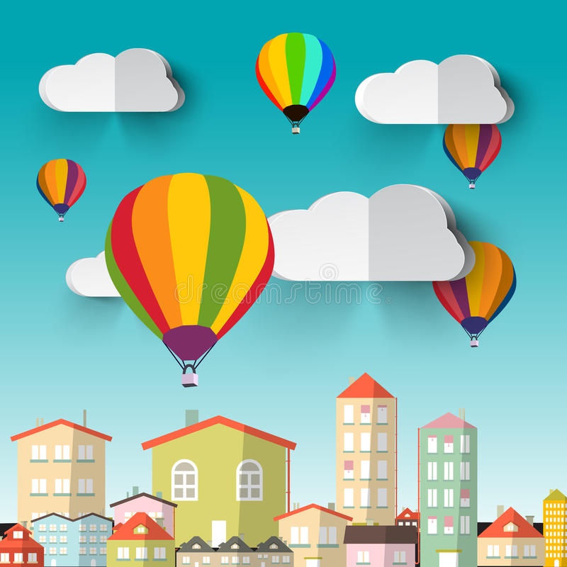 Горячие воздушные шары на голубом небе иллюстрация штока