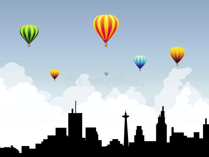 Горячие воздушные шары на Неб-векторе города бесплатная иллюстрация