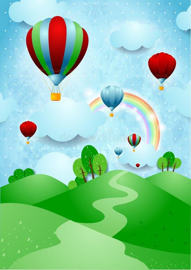 Горячие воздушные шары над холмами иллюстрация штока