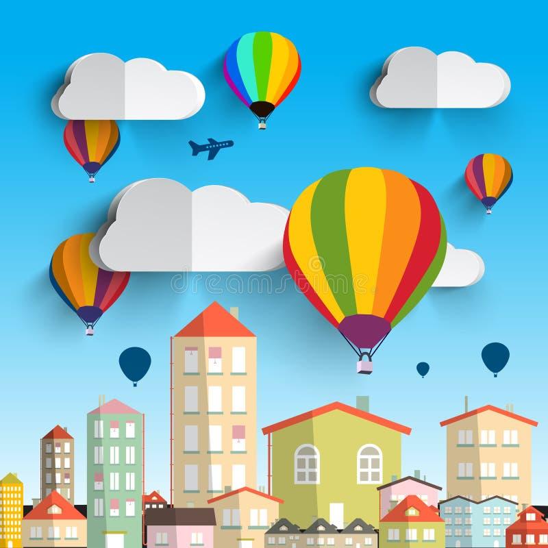 Горячие воздушные шары с облаками иллюстрация вектора