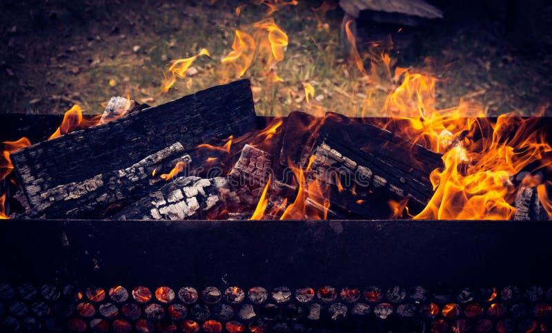 Горячие объекты BBQ окруженные по своей природе стоковые изображения rf