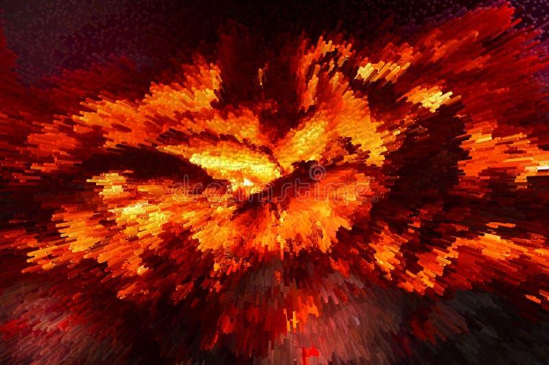 Горячие огонь и взрыв абстракция twirl искусства abstact глубоко цифровой красный иллюстрация штока