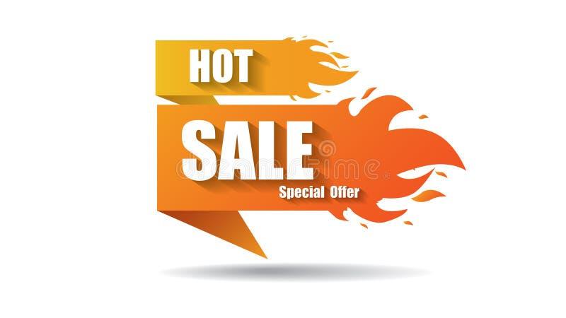 Горячий вектор дела предложения резк сниженная цена огня продажи обозначает дизайны шаблонов знамени с пламенем вектор иллюстрация вектора