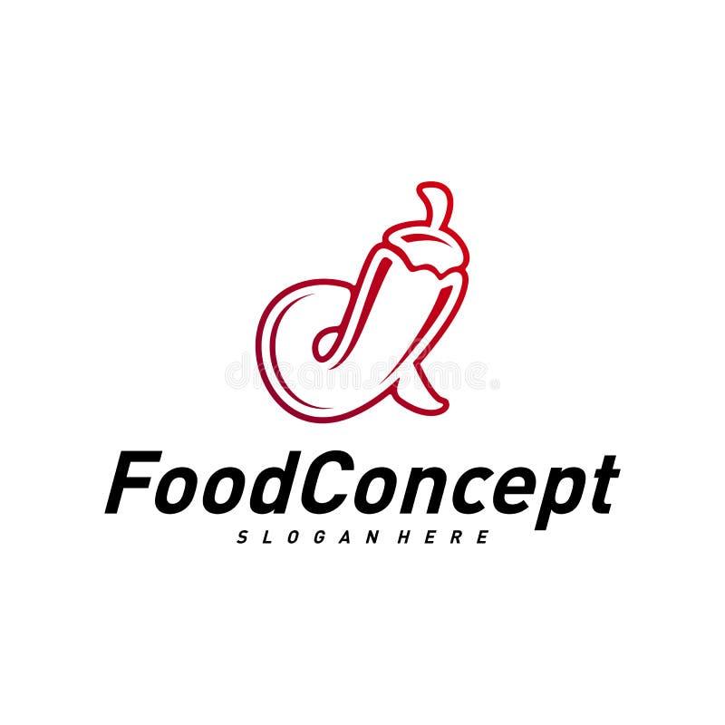 Горячий вектор концепции логотипа еды Красный вектор шаблона дизайна логотипа Chili Символ значка горячего Chili иллюстрация вектора
