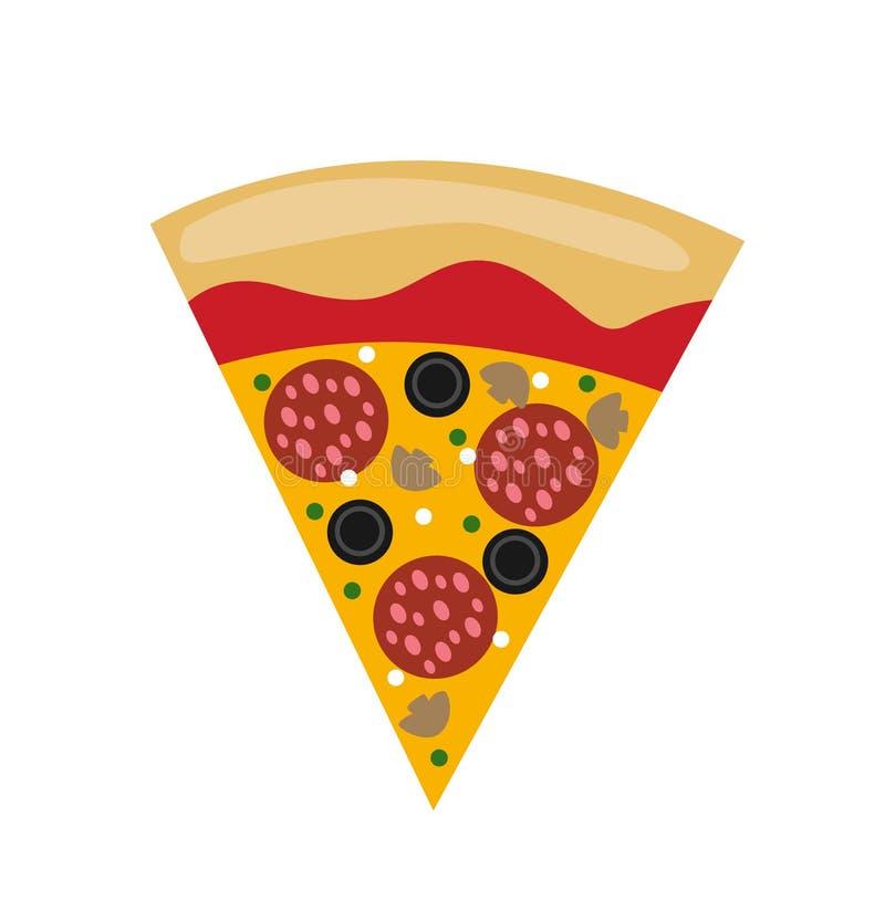 Горячий вектор куска пиццы салями бесплатная иллюстрация