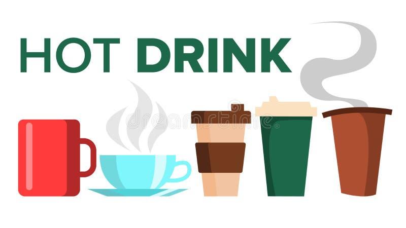 Горячий вектор чашки кружки напитка чай элементов конструкции кофе керамическо Takeout эспрессо Latte утра Изолированная плоская  иллюстрация штока