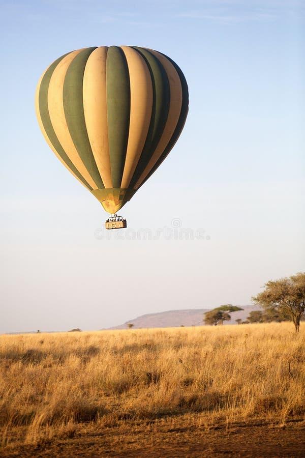 Горячий воздушный шар в Serengeti, Танзания стоковое изображение