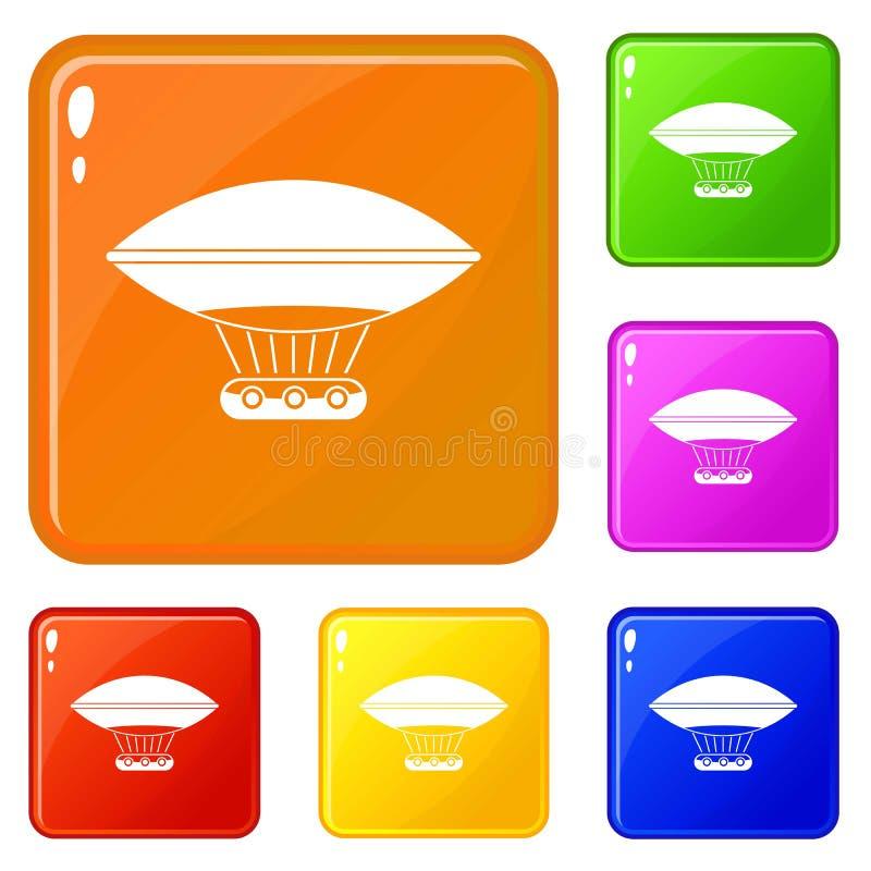 Горячий воздушный шар со значками корзины гондолы установил цвет вектора бесплатная иллюстрация
