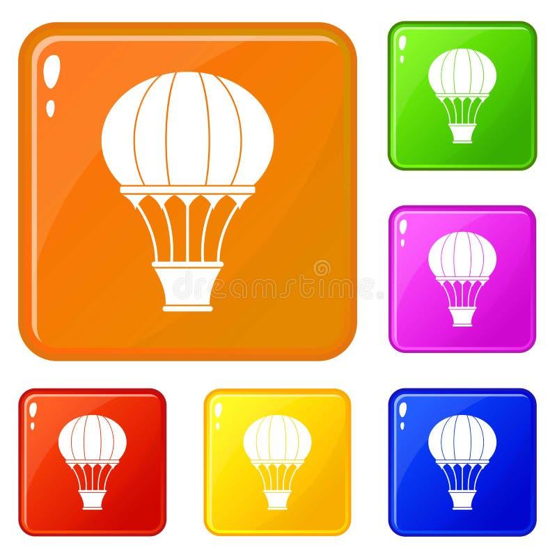 Горячий воздушный шар со значками корзины установил цвет вектора иллюстрация вектора