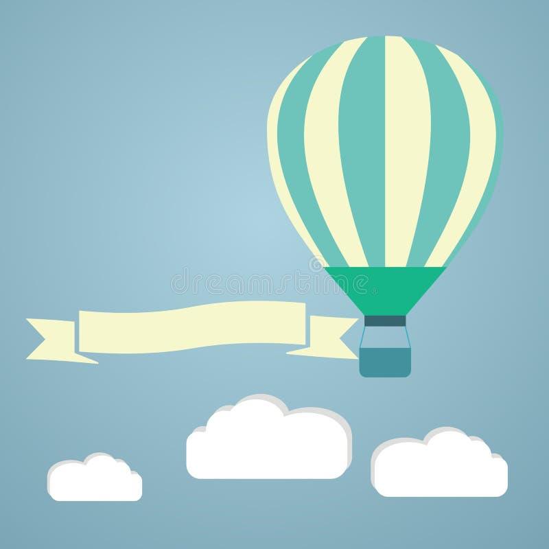 Горячий воздушный шар в векторе неба карточка 2007 приветствуя счастливое Новый Год иллюстрация штока