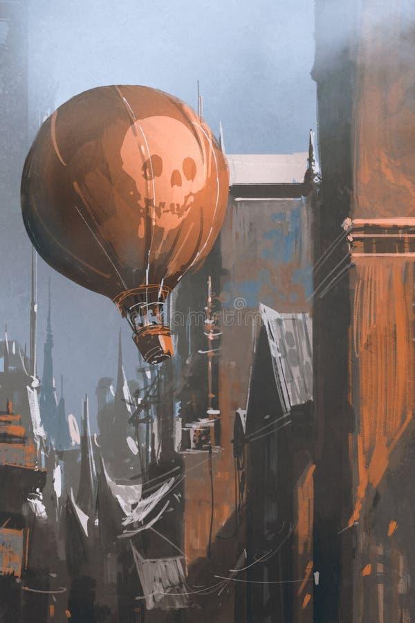 Горячий воздушный шар плавая в старый город бесплатная иллюстрация