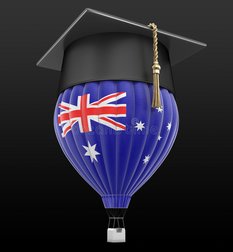 Горячий воздушный шар с австралийской крышкой флага и градации иллюстрация штока