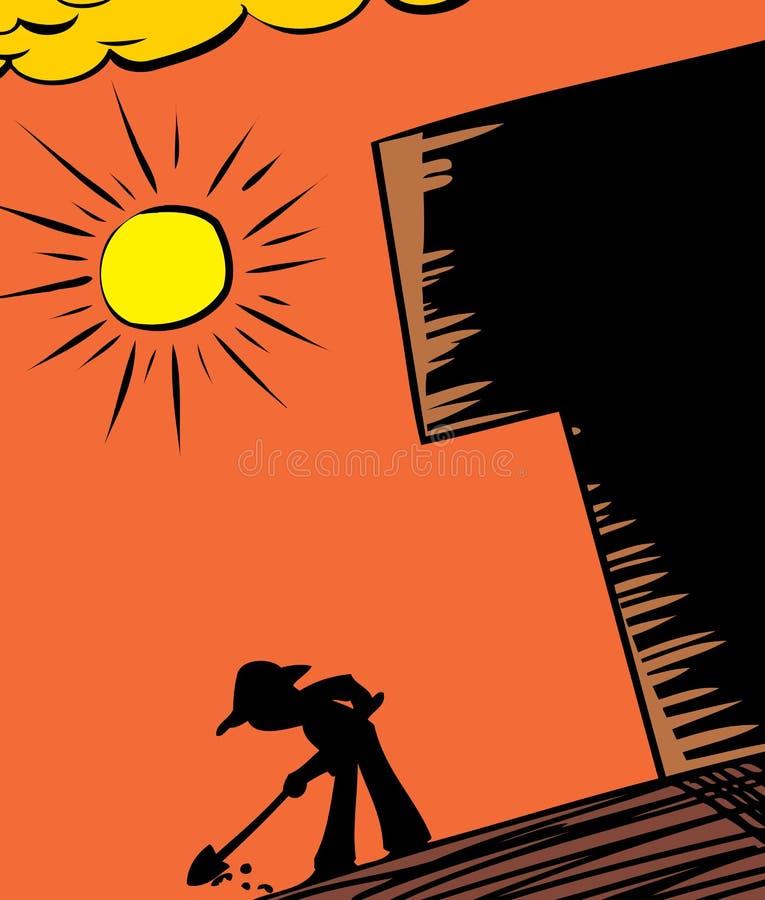 Горячий выкапывать Солнця и садовника иллюстрация вектора
