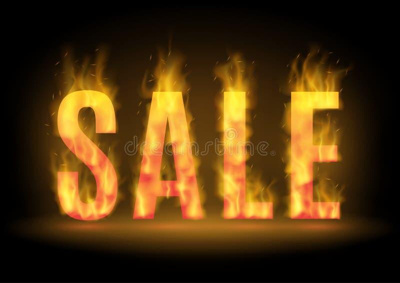 Горячий дизайн продажи с огнем также вектор иллюстрации притяжки corel стоковое фото rf