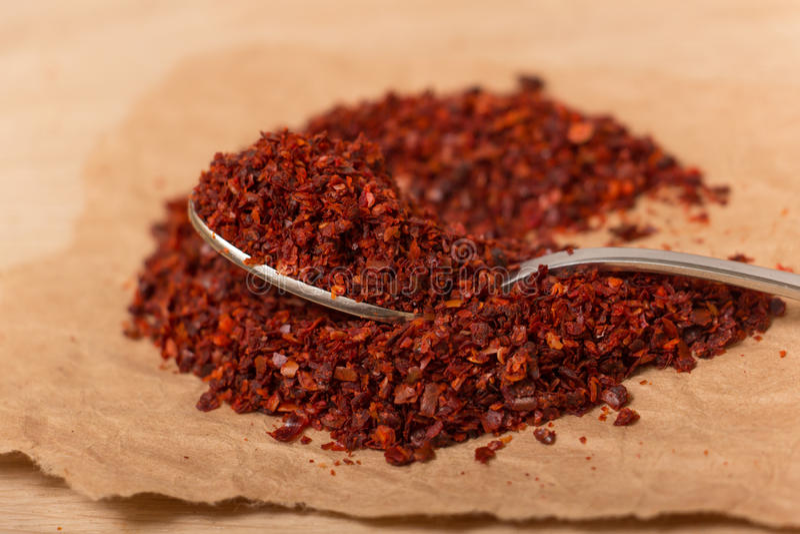 Горячий задавленный перец красных чилей стоковое фото rf