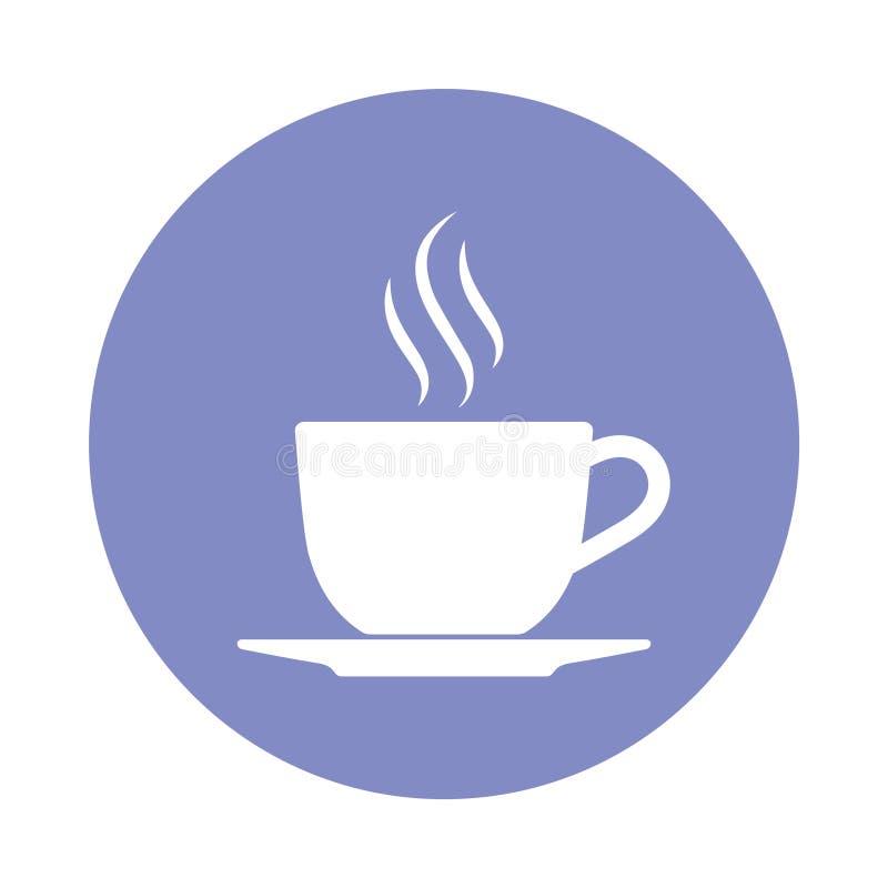 Горячий значок кофейной чашки в круге бесплатная иллюстрация