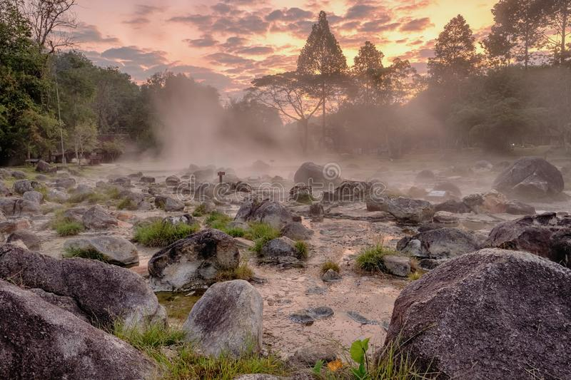 Горячий источник в национальном парке сына Chae, северном Таиланде стоковые изображения
